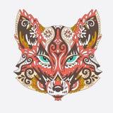 在白色背景的狂放的美好的狐狸头 在vect的时尚 免版税库存图片