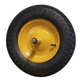 在白色背景的独轮车轮子 免版税库存照片