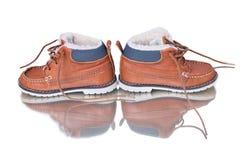 在白色背景的猾皮鞋子 免版税库存照片