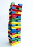 在白色背景的玩具塔 免版税库存照片