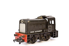 在白色背景的玩具电式样火车 免版税库存图片