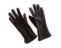 在白色背景的现代棕色皮手套 免版税库存照片