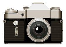 在白色背景的现实葡萄酒照相机传染媒介例证 免版税库存照片