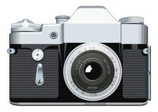 在白色背景的现实葡萄酒透镜照相机传染媒介例证 免版税图库摄影
