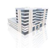 在白色背景的现代办公楼与反射 库存图片