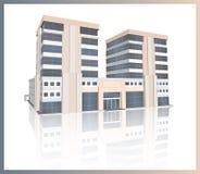 在白色背景的现代办公楼 库存图片