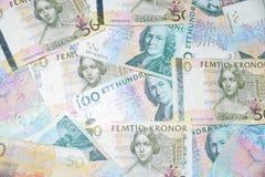 在白色背景的瑞典金钱 免版税图库摄影