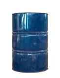 在白色背景的生锈的金属油桶 图库摄影
