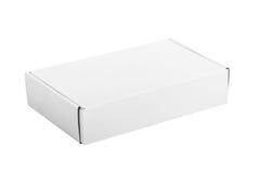 在白色背景的白皮书箱子 库存照片