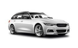 在白色背景的白色金属普通普遍汽车与被隔绝的道路 库存照片
