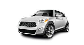 在白色背景的白色金属普通紧凑小汽车与被隔绝的道路 库存图片