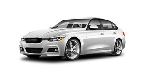 在白色背景的白色金属普通轿车汽车与被隔绝的道路 库存图片