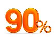 在白色背景的百分之九十 3d例证 免版税库存照片