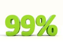99%在白色背景的百分率象 库存图片