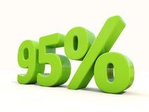 95%在白色背景的百分率象 免版税库存图片