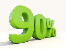 90%在白色背景的百分率象 免版税库存图片
