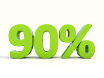 90%在白色背景的百分率象 图库摄影