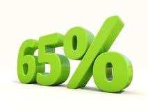 65%在白色背景的百分率象 图库摄影