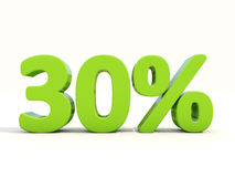 30%在白色背景的百分率象 免版税库存照片