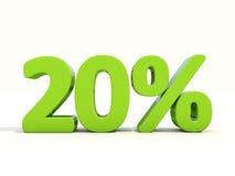 20%在白色背景的百分率象 库存照片