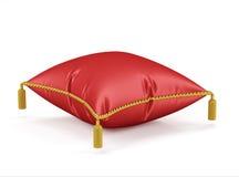 在白色背景的皇家红色天鹅绒枕头 免版税图库摄影
