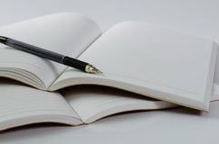 在白色背景的皮革盖子笔记本 库存照片