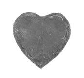 在白色背景的石心脏 免版税图库摄影