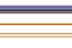 在白色背景的磷光性金黄紫罗兰色线 库存图片