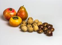 在白色背景的秋天食物 免版税库存图片