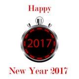 在白色背景的秒表与第2017年新年快乐 免版税库存照片