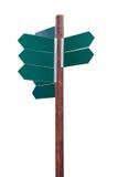 在白色背景的空白的交叉路路标 免版税库存照片