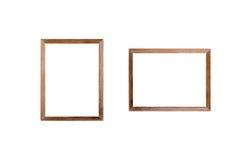 在白色背景的空白的木制框架图片 库存照片