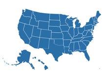 在白色背景的空白的相似的美国地图 美利坚合众国国家 网站的传染媒介模板 图库摄影