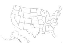 在白色背景的空白的相似的美国地图 美利坚合众国国家 网站的传染媒介模板 库存照片