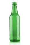 在白色背景的空的啤酒瓶 库存图片