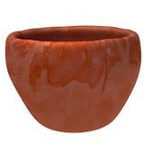 在白色背景的空的赤土陶器花盆 图库摄影