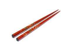 在白色背景的筷子与选择聚焦 免版税库存图片