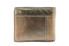 在白色背景的简单和美丽的棕色皮革钱包 库存图片