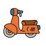 在白色背景的简单的逗人喜爱的橙色摩托车 图库摄影