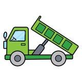 在白色背景的简单的逗人喜爱的绿色翻斗卡车 库存图片