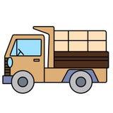 在白色背景的简单的逗人喜爱的翻斗卡车 免版税库存照片