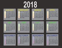 在白色背景的简单的2018年日历 日历在2018年 免版税库存照片
