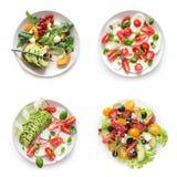 在白色背景的素食salats 库存照片