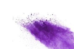 在白色背景的紫色粉末爆炸 色的云彩 五颜六色的尘土爆炸 绘Holi 库存图片