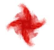 在白色背景的红色五颜六色的粉末飞溅 免版税库存照片