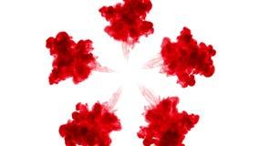 在白色背景的红色墨水在水中溶化 美好的作用在计算机上塑造了 3d回报与luma铜铍为 股票录像
