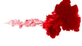 在白色背景的红色墨水 3d回报,与luma铜铍 股票视频