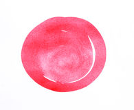 在白色背景的红色抽象圈子冲程 免版税库存照片
