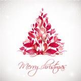 在白色背景的红色抽象圣诞树与光和雪花 库存图片