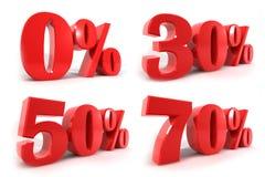 在白色背景的红色数字百分之折扣孤立 免版税图库摄影